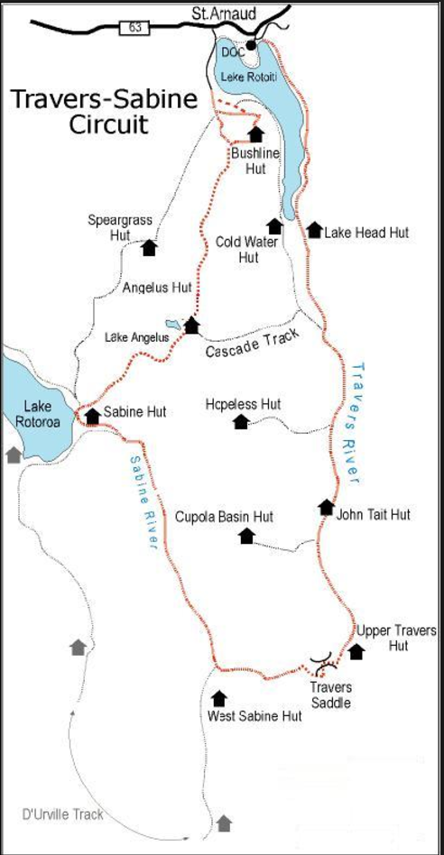 The map and layout of what we hiked. Blue Lake was the last arrow on the bottom.