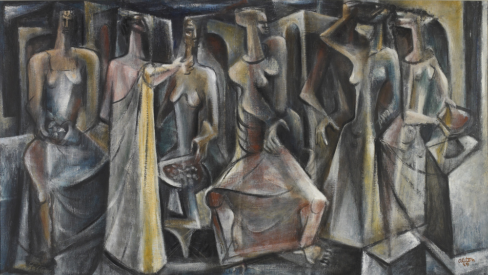 SOLD    Untitled (Seven Figure  s), 1949  , oil on canvas, 20 x 36 inches