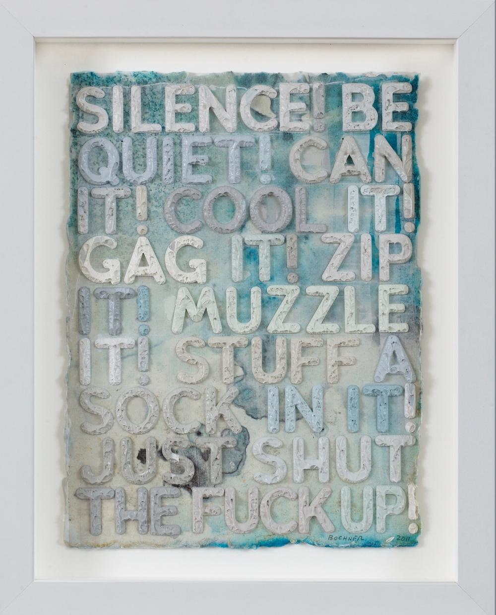 SOLD Silence, 2011, monoprint with collage, engraving and embossment on hand-dyed, handmade Twinrocker paper, 12 x 9 inches