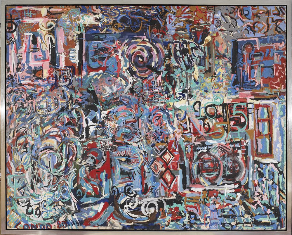 SOLD  Untitled, 1983  , oil and paper collage on canvas, 46 3/4 x 58 1/2 inches