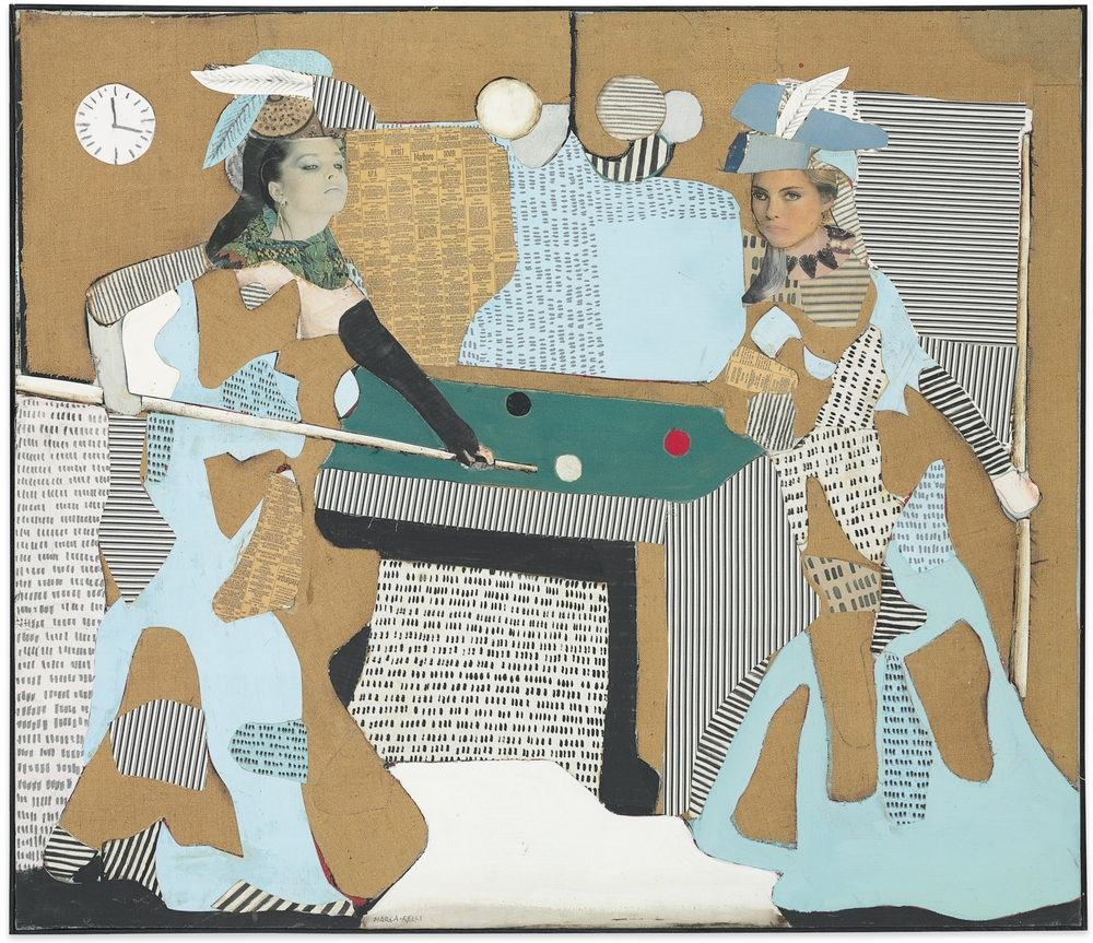 The Pool Game, 1981, oil on burlap, fabric, printed paper, and newsprint collage on canvas, 48 x 55 1/2 inches