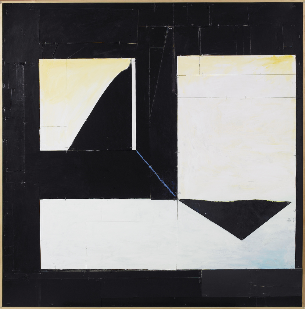 SOLD Untitled, 2011, acrylic gel, lacquer, vinyl, cardboard and wood, 49 1/4 x 47 1/4 inches
