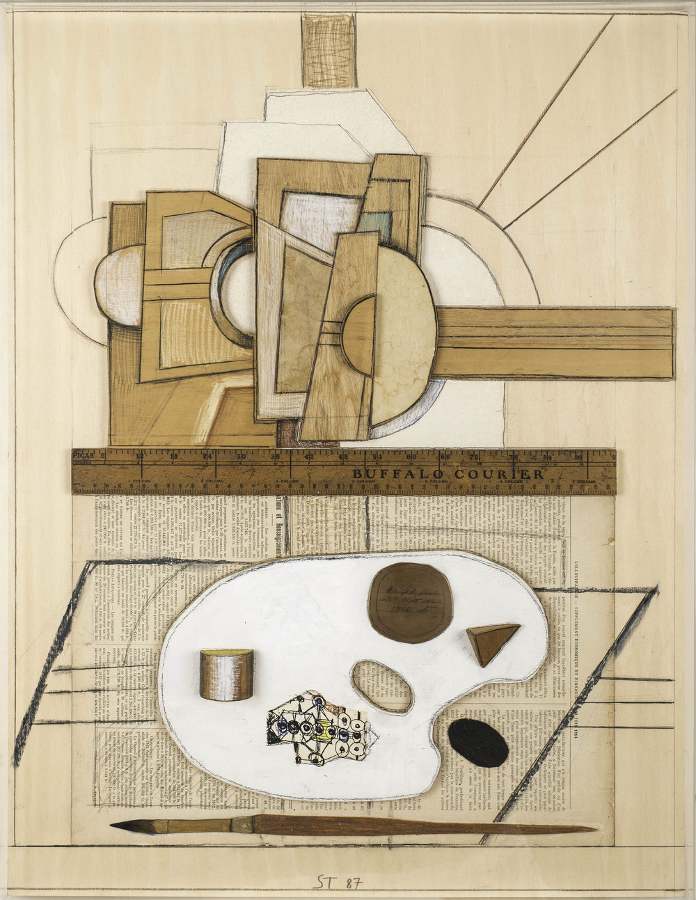 Easel & Palette, 1987, mixed media on wood, 21 x 16 inches
