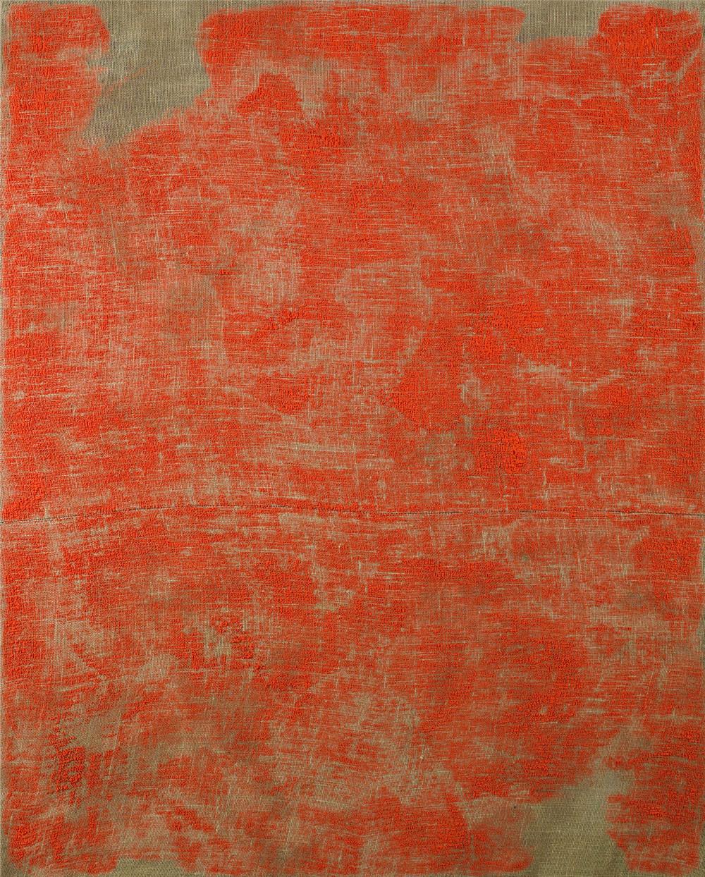 Porosity (Brushed II), 2014, acrylic on burlap, 60 x 48 inches