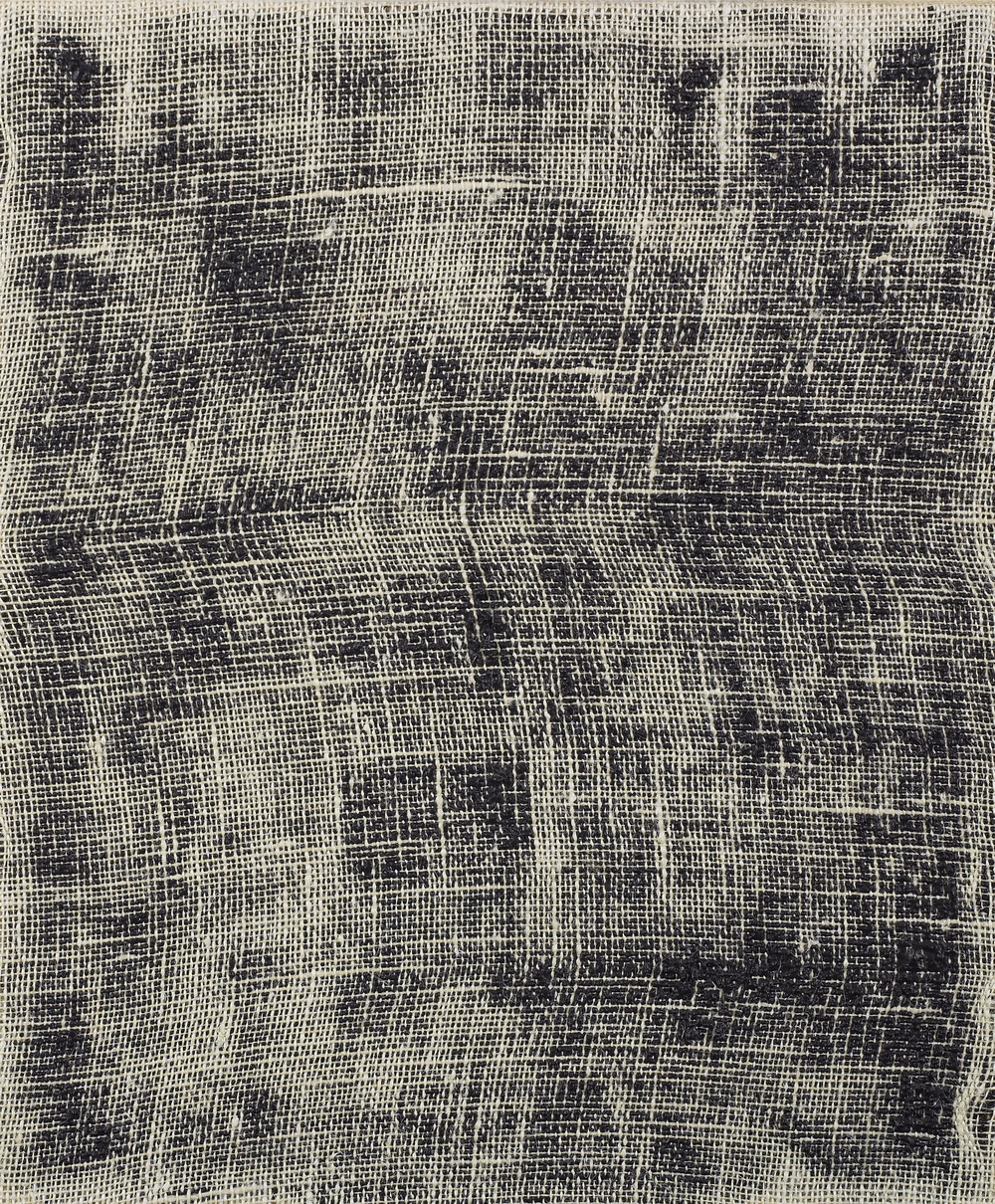 Porosity (Black II), 2014  , acrylic on burlap, 20 x 16 inches