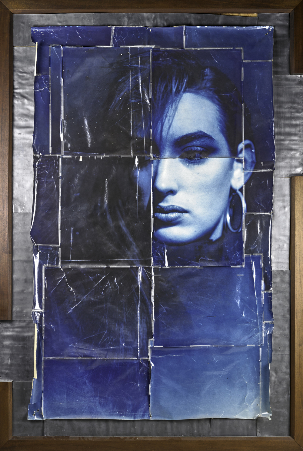 Blue Lisa, 1987  , toned silver print, lead, tape and wood, 97 1/2 x 68 1/4 inches