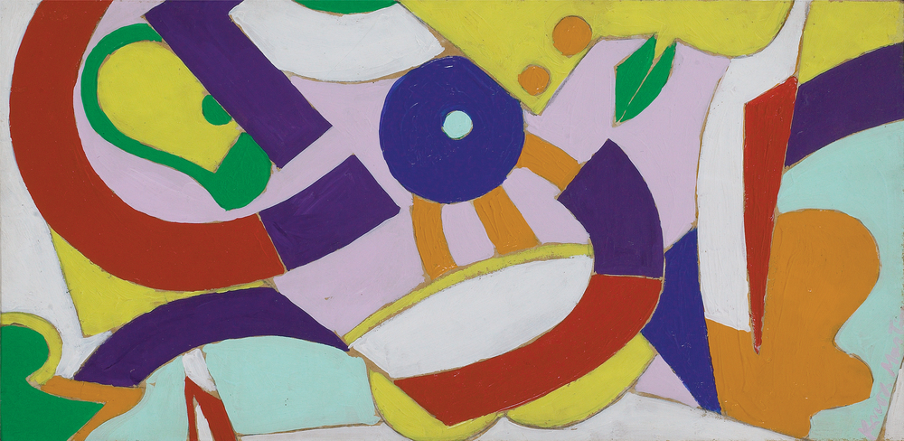 SOLD  Abstraction,   oil on paper laid on canvas, 7 1/2 x 14 1/2 inches