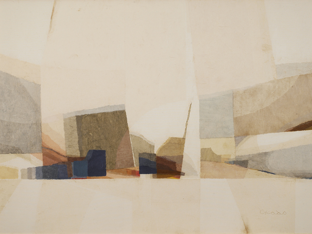 Untitled, c. 1970, paper collage on canvas, 36 x 48 inches