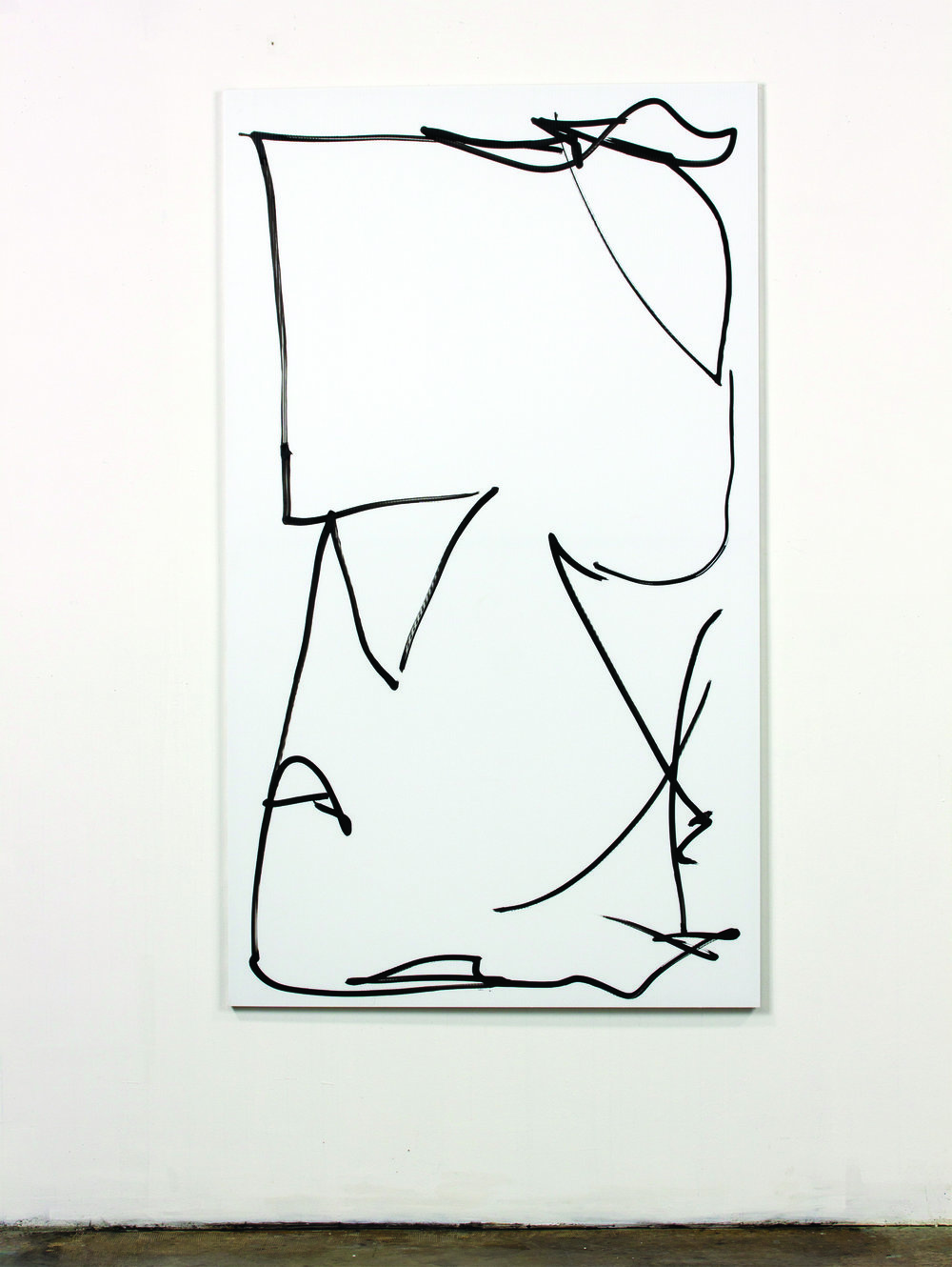 Grove, 2013, ink on fluted polyboard mounted on an aluminum frame, 70 x 40 1/2 inches