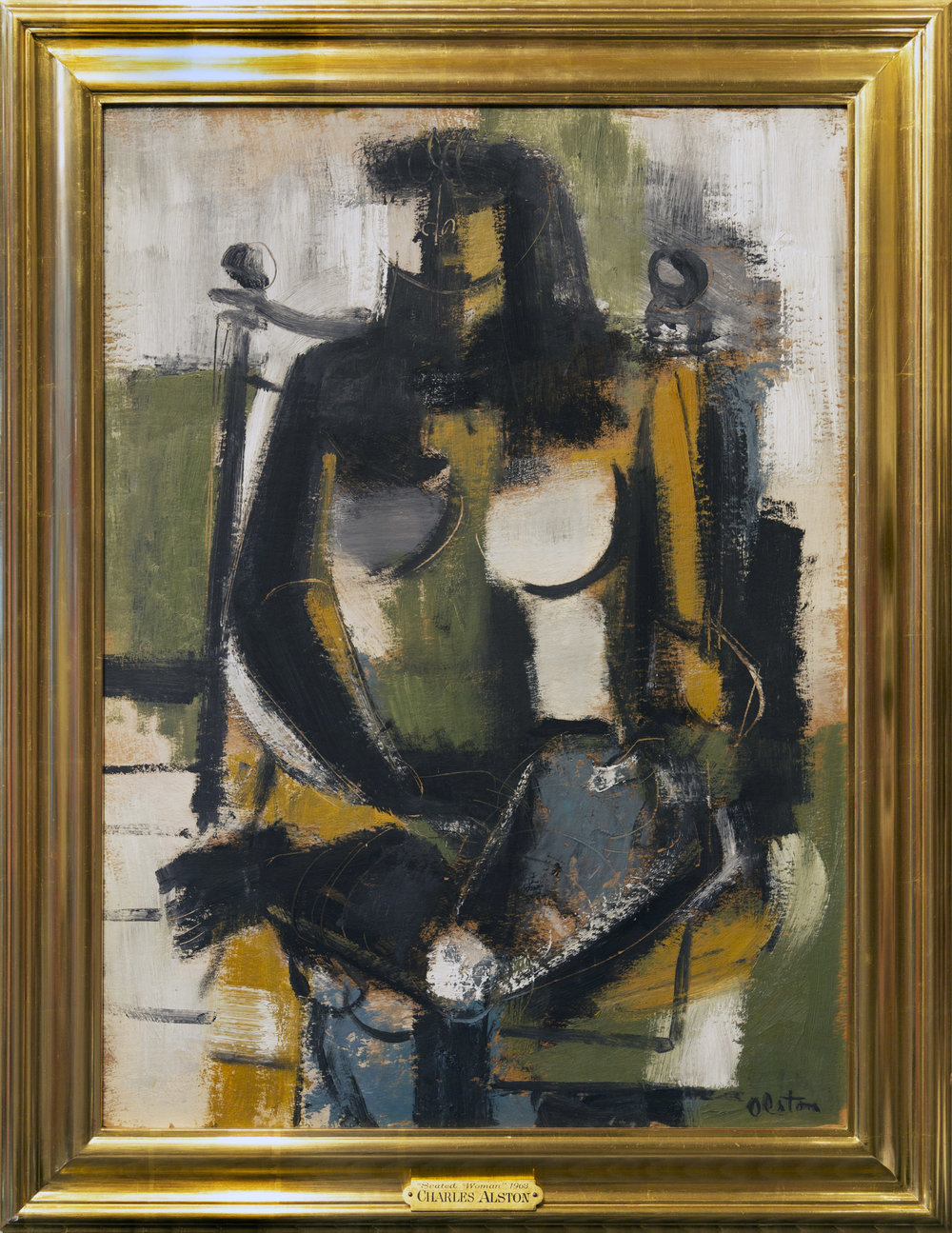 SOLD   Seated Woman, 1963 , oil on board, 25 3/4 x 18 7/8 inches