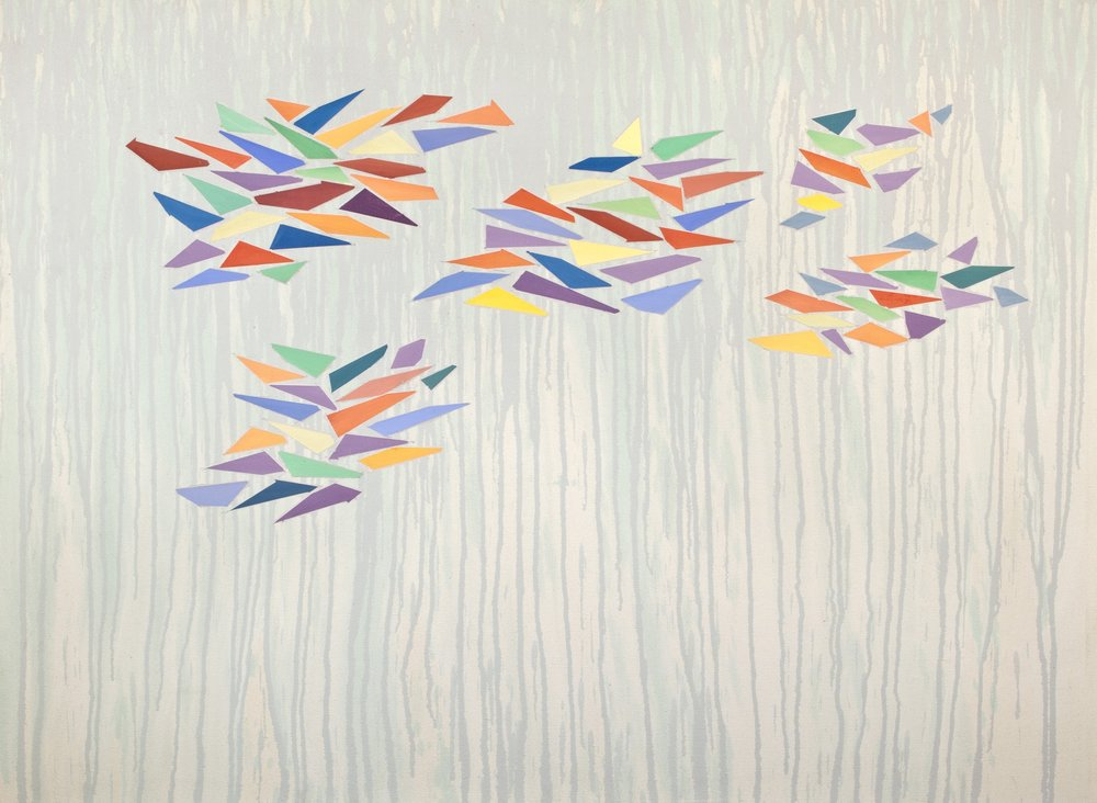 Colors on Pale Purple-Green, 1976, oil and acrylic on canvas, 36 x 47 1/2 inches
