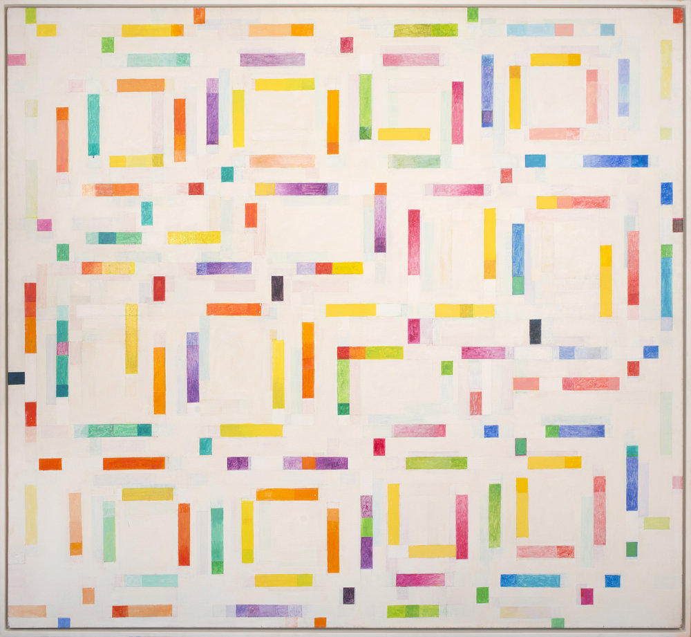 Ceremonial Space, 1984, acrylic and watercolor on canvas, 66 x 72 inches