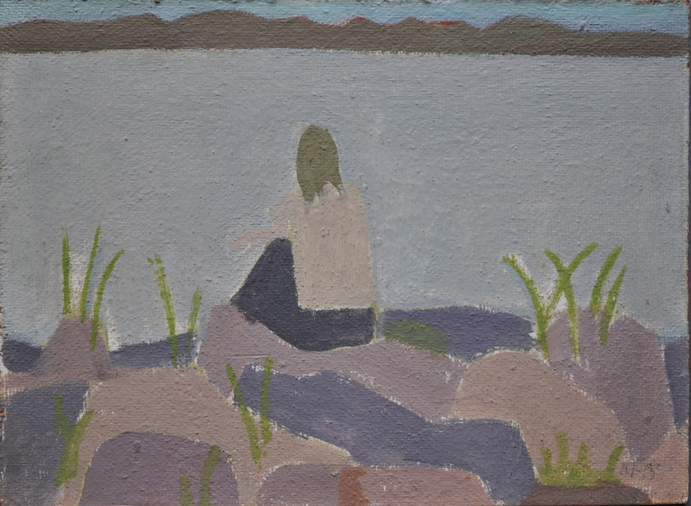Alex Katz, Daphne Mumford on Maine Coast, 1957, oil on board, 10 x 13 1/2 inches