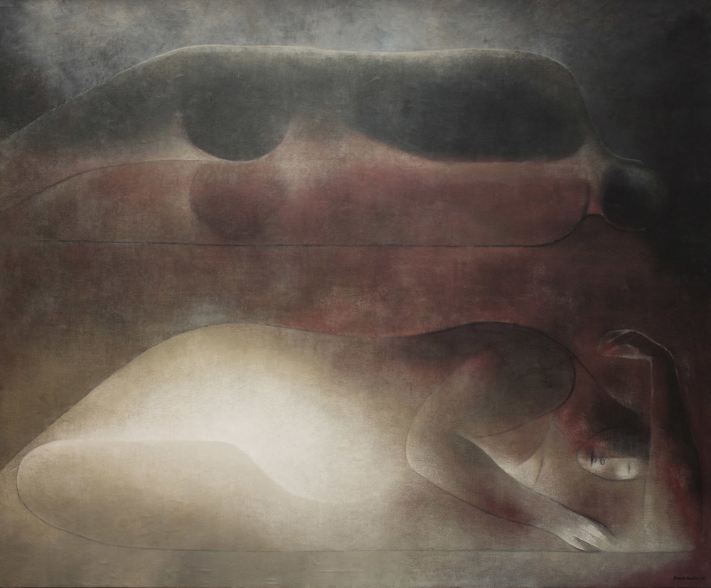 Ricardo Martínez de Hoyos, La Pareha Dormida, 1965, oil on canvas, 69 x 84 inches