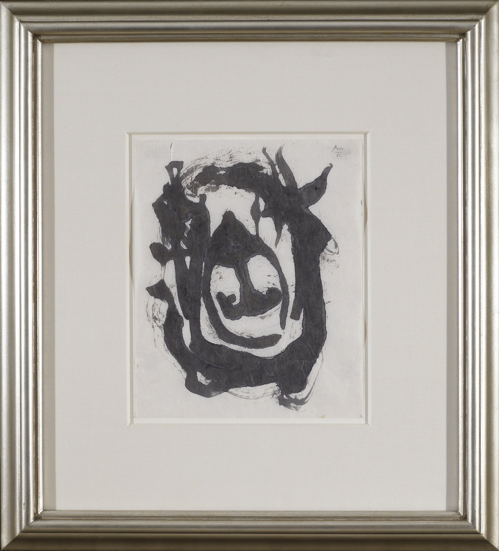 SOLD Untitled, 1986, black and Sepia ink on rice paper, 11 x 9 inches