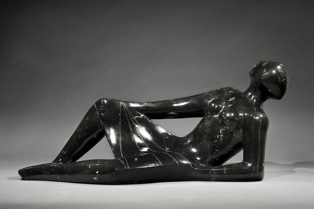 Star Gazer, 1997, black marble sculpture, 14 1/2 x 32 x 11 inches