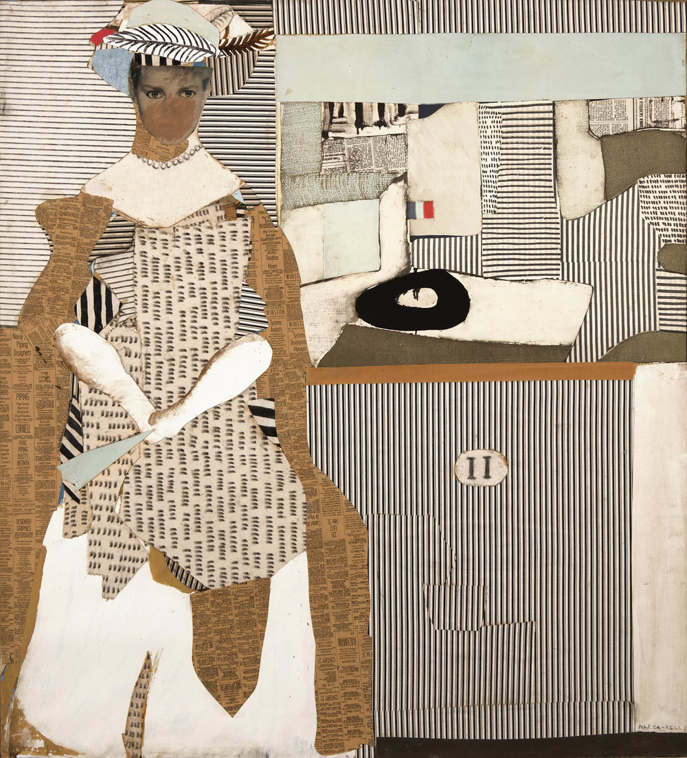 Waiting No. L-10-81-82,   Mixed media collage on canvas, 1981-82, 46 1/2 x 41 1/5 inches