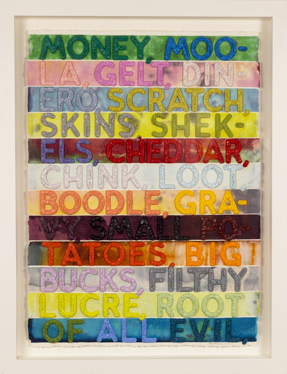 Money   ,  Monoprint with collage, engraving, and embossment on hand-dyed paper, 2011, 30 x 22 inches