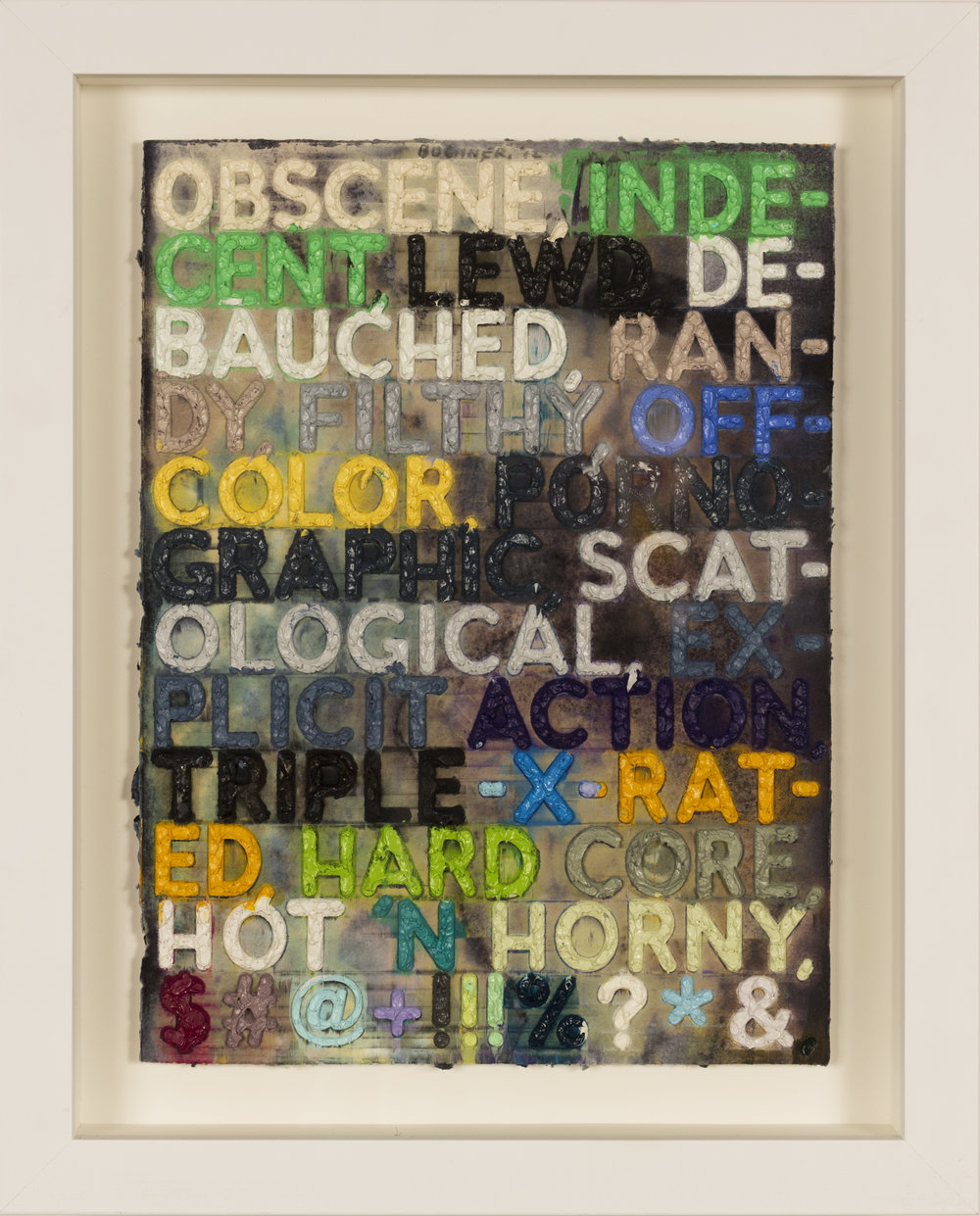 Obscene,   Monoprint with collage, engraving, and embossment on hand-dyed paper, 2012, 12 1/8 x 9 1/8 inches