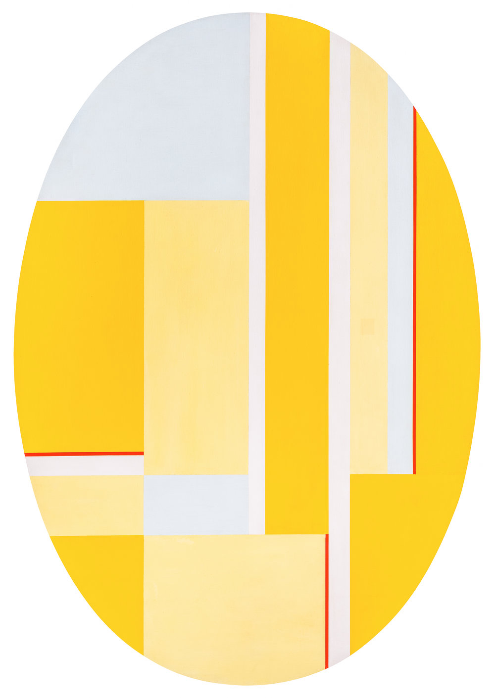 Ellipse with Yellows,   Acrylic on canvas, 1977, 51 1/2 x 35 1/2 inches
