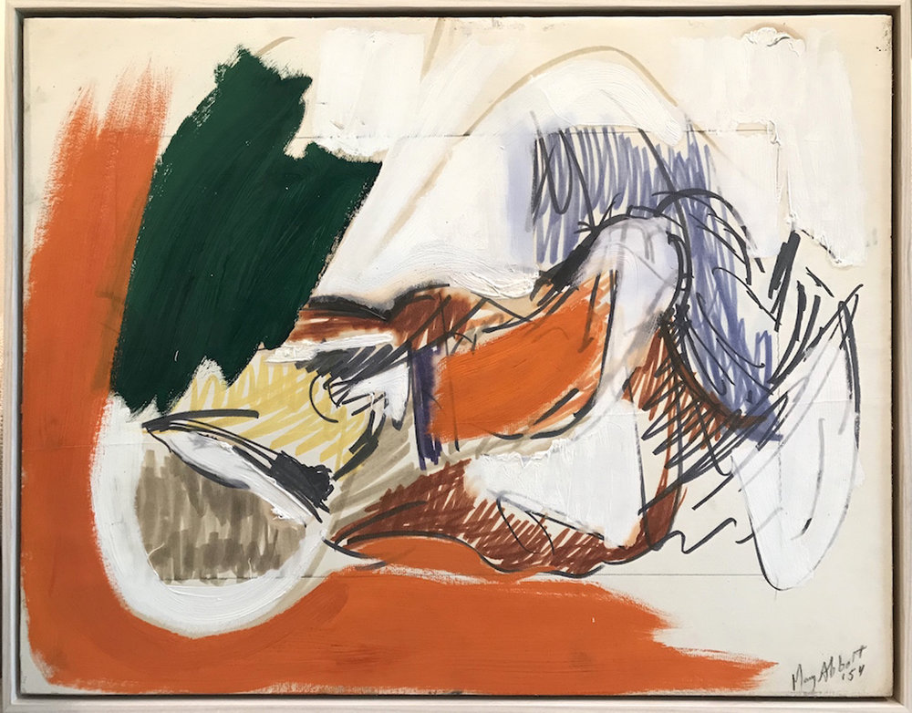 SOLD  Untitled   ,  Oil, marker, pencil on paper mounted to canvas, 1954 19 x 24 inches