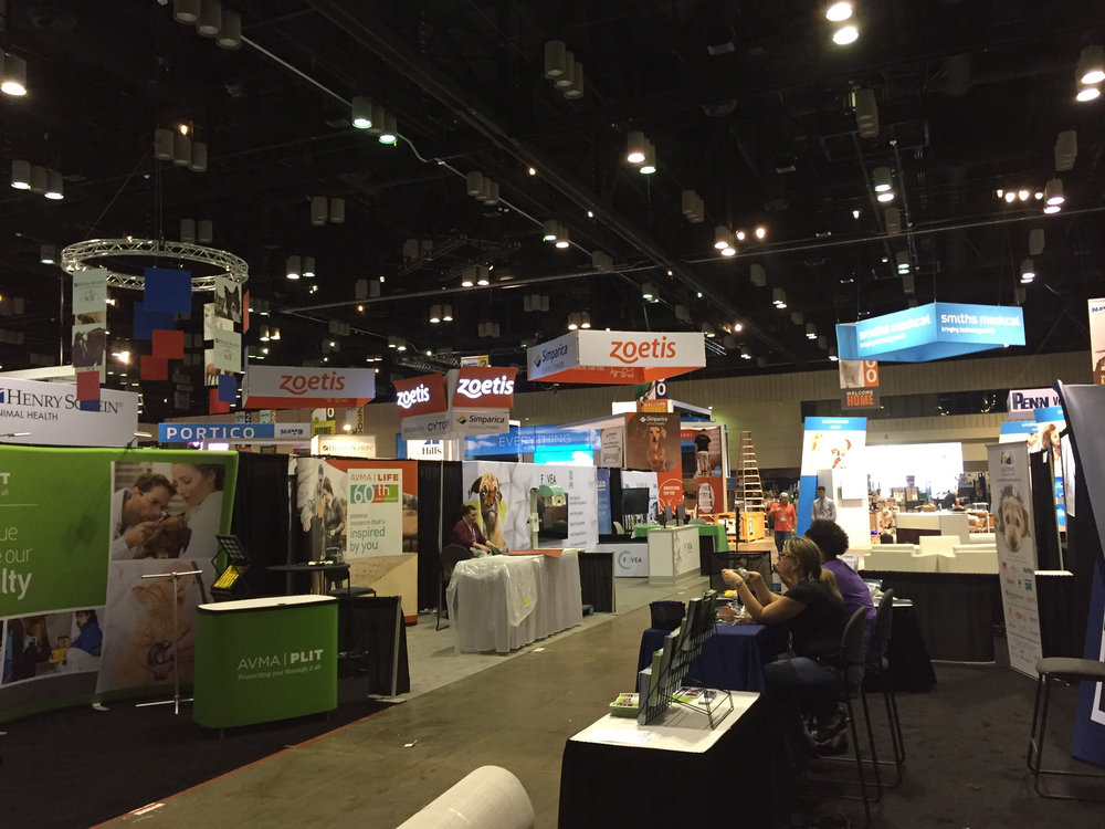 Inside the exhibit hall, the view from the Dragon Veterinary booth, #3532