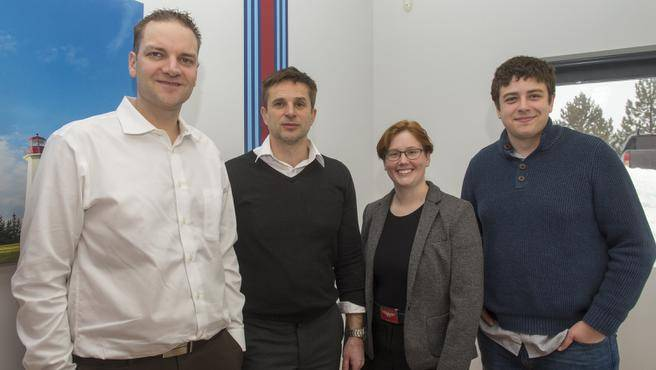 Shawn Wilkie and his team of Dragon Veterinary Software. From left to right: Shawn Wilkie, Tomek Obirek, Charlotte Henderson, and Josh Vienneau
