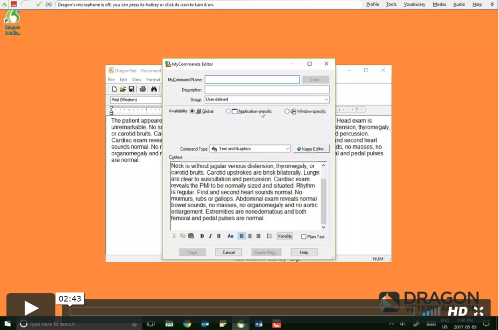 TUTORIAL #13: CREATING TEMPLATES IN DRAGON   This video tutorial goes over how to create fully customizable and voice-activated templates, one of the main time-saving and workflow improving features in Dragon Veterinary.