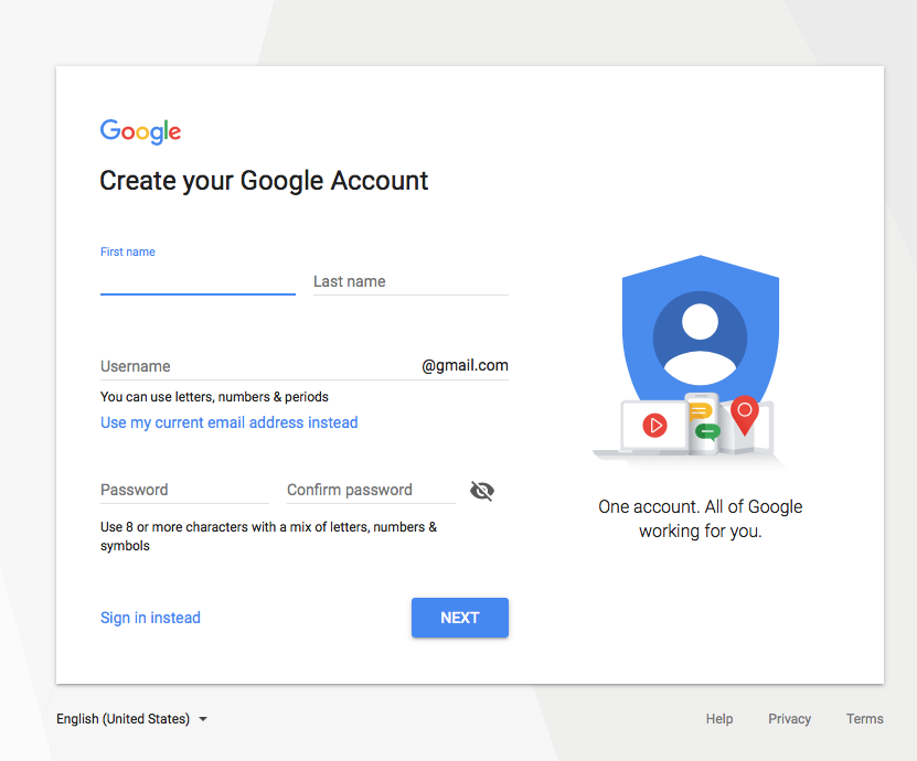 Google | create your Google Account