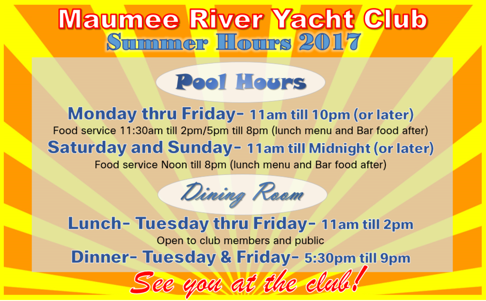 MRYC Pool is open! - The best way to spend your warm summer is pool side at the Maumee River Yacht Club. Our sparkling is open for the season and the Tiki Bar is fully staffed with our friendly servers. MRYC pool deck makes the perfect place for lunch with the best views of the river and friendly staff.