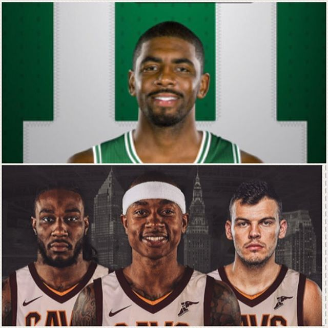 After asking to be traded from the Cavs this offseason, Kyrie Irving (the Cav who wasn't LeBron James) was dealt to the Celtics in exchange for Isaiah Thomas (not related to the Isaiah Thomas you're thinking of), Jae Crowder (he wears #99), Ante Zizic (who?), and the Nets First-Round Pick in the 2018 Draft.