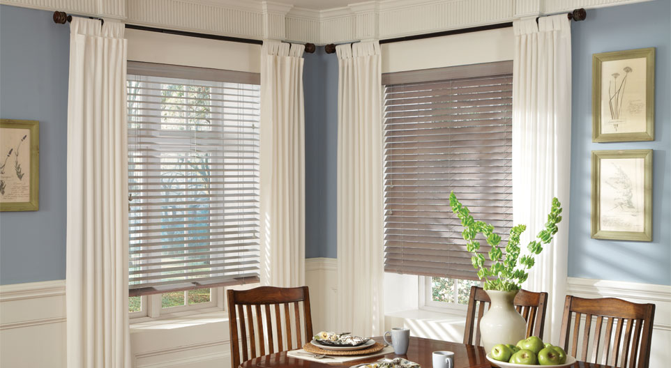 PARKLAND WOOD BLINDS    Constructed with the finest hardwoods available, these Hunter Douglas Parkland Wood Window Blinds are easy to maintain and boast an air of sophistication with a casual appeal. These blinds come with a Hunter Douglas lifetime guarantee and can be customized with various shades and grain patterns to suit a variety of stylistic preferences. Please click the photo above for more product information.