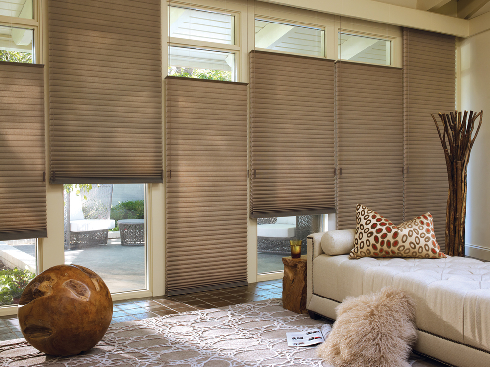 DUETTE HONEYCOMB SHADES    The Duette Honeycomb Window Shades offer a distinctive look with extreme benefits. Not only are these shades energy efficient, but they also improve a room's acoustics, block outside noise and give homeowners the maximum ability to customize how much light enters the home. Click on the photo for more details.