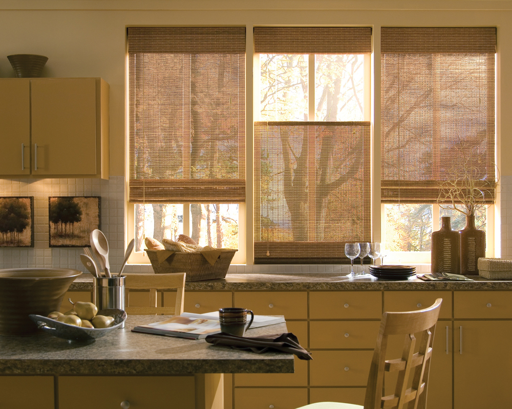PROVENANCE WOVEN WOOD SHADES    Casual yet chic, the Provenance Woven Wood Window Shades are a gorgeous addition to any living room, kitchen or home office. These shades give off a casual, warm and inviting feel while still maintaining that modern look that many homeowners are after. Click the photo for more.