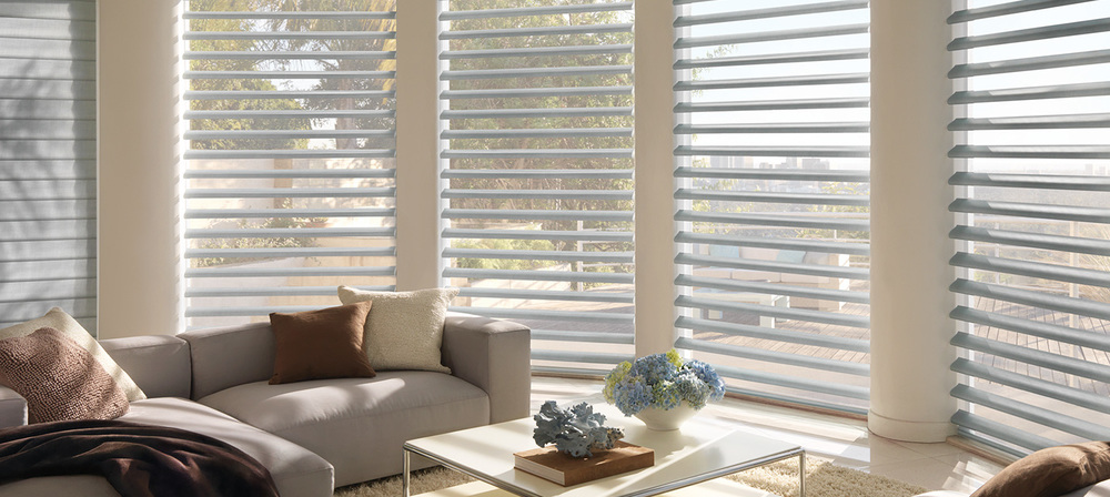 PIROUETTE SHADINGS    Versatile, functional and beautiful, Pirouette Shadings offer the perfect solution to any home, commercial building or vacation bungalow. These window shades feature horizontal fabric vanes that look identical to your average window shades from afar.   Click on the photo above for more product details.