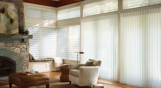 LUMINETTE VERTICAL SHADINGS   Luminette vertical window blinds give you the perfect balance between natural light and privacy. These shades are made with a sheer, decorative fabric that is elegant and stylish. Click on the photo above to learn more.