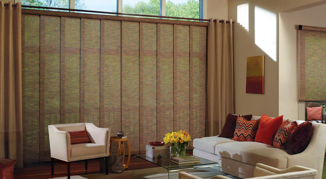 SKYLING GLIDING PANELS   The Skyling Guide Panels are versatile and modern. These stylish window blinds can be easily compressed or expanded to give you the look that you desire. Click on the photo above to learn more.
