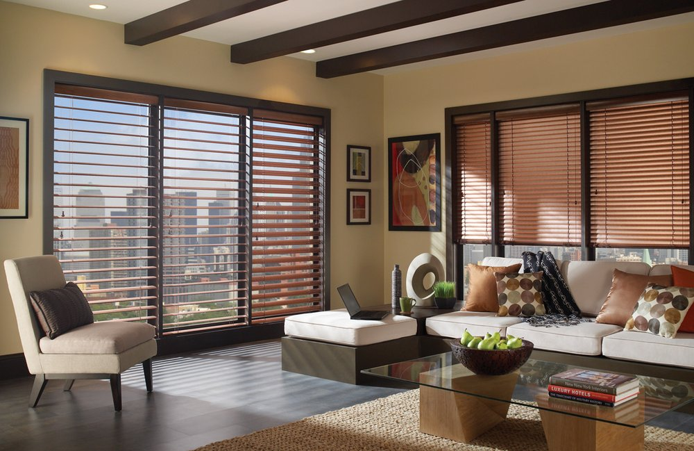 MODERN PRECIOUS METALS ALUMINUM BLINDS    If you're looking for something ultra-modern, clean and simple, these Modern Precious Metals Aluminum Window Blinds from Hunter Douglas are a great choice. Perfect for the office, home or studio, these blinds are made from 95% recycled aluminum and are topped with a coating of Dust Shield to prevent dust buildup and make maintenance even easier. Additionally, these window blinds mesh well with a variety of interior design styles, including urban, rustic or traditional. Click on the photo to read more about the customization options available.