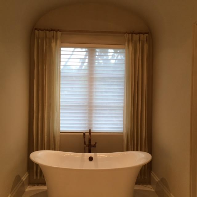 tan bathroom window treatments