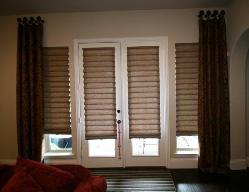 CUSTOM DRAPERY PANELS WITH VIGNETTE SHADES IN FRISCO, TX