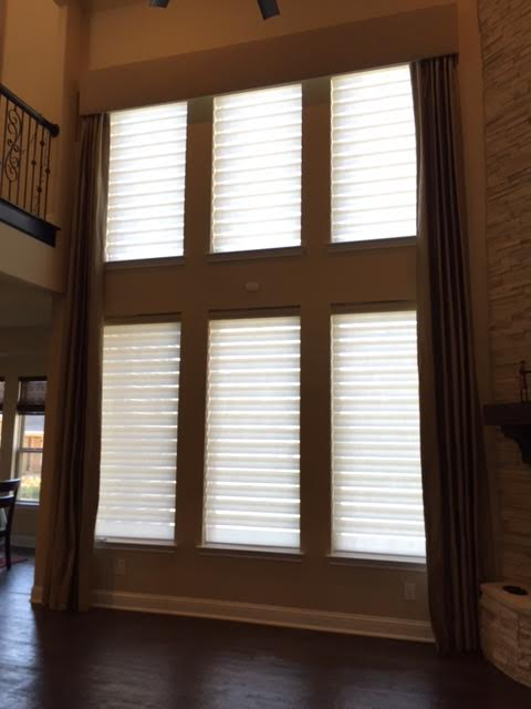 CUSTOM DRAPERY PANELS WITH PIROUETTE SHADES IN COPPELL, TX