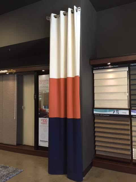 CUSTOM DRAPERY PANEL AT OUR STORE IN SOUTHLAKE, TX