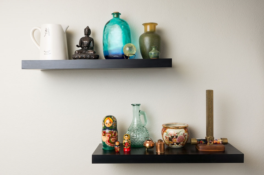 home accents on wall shelves