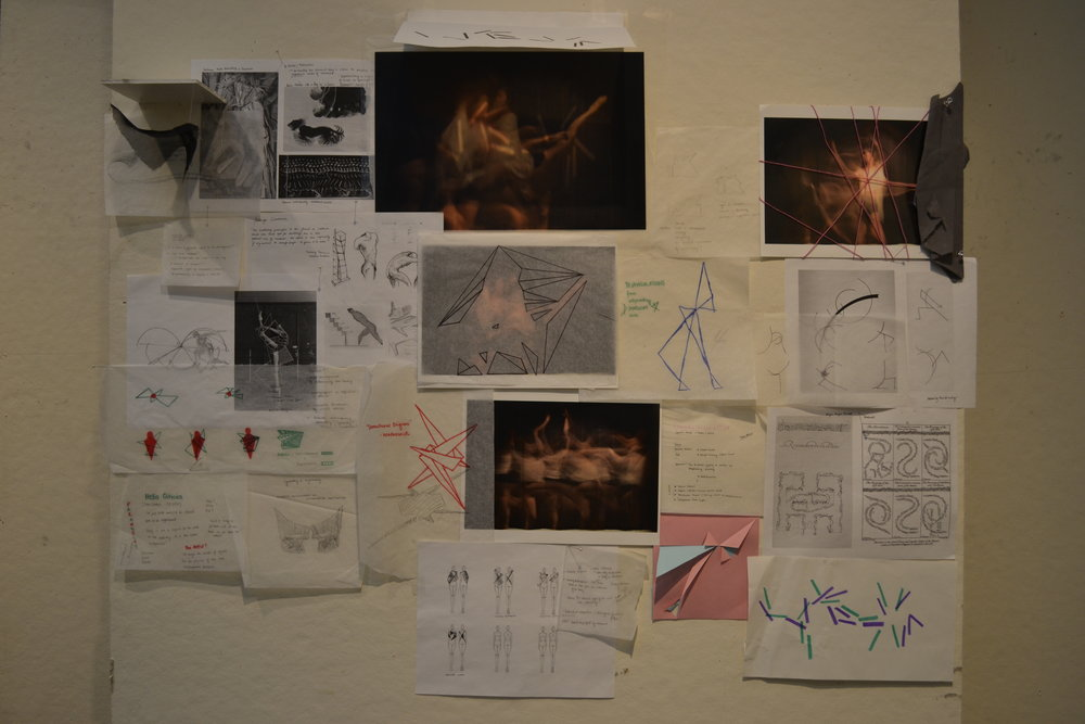 This photograph showcases the breadth of my study thus far, includes concept sketches, maquettes and precedent analyses. Viewed from right to left, it depicts my progression from line-based investigations to those that are more figural.