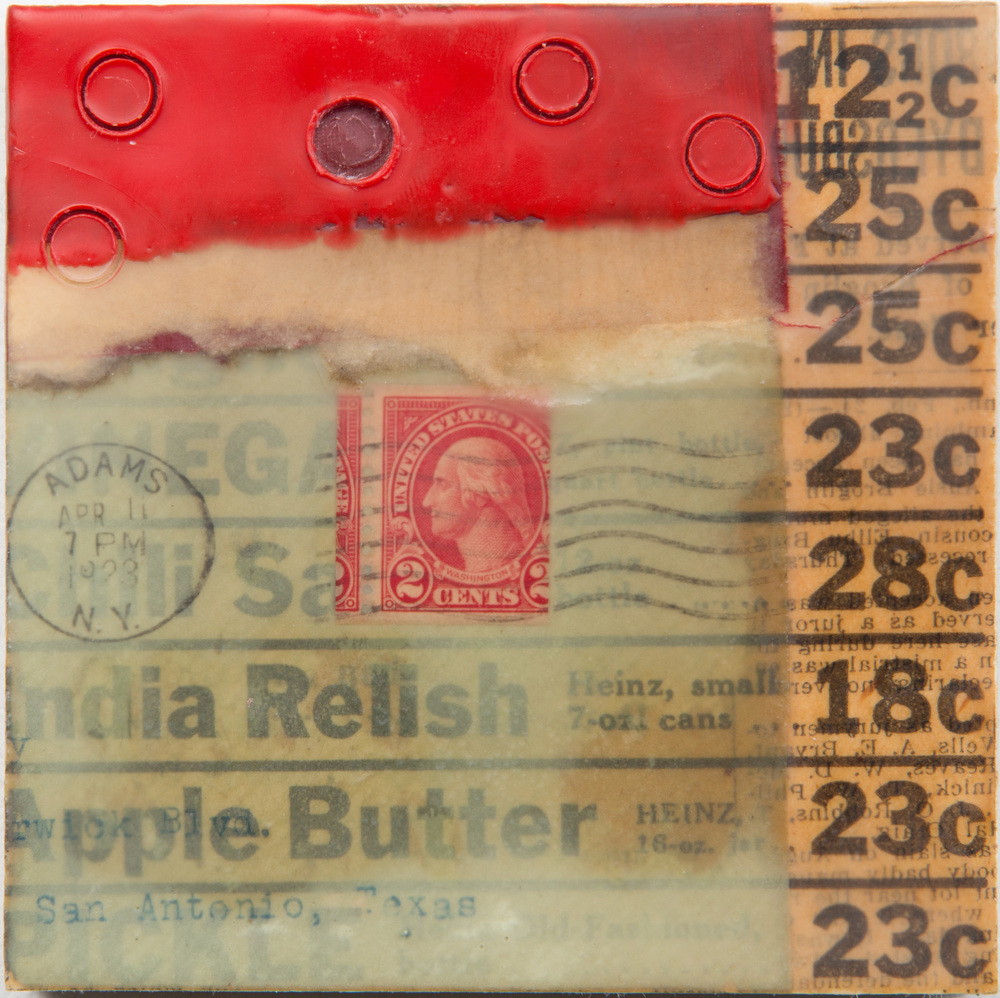 "Relish, encaustic collage, 4"" x 4"" x 1.5"""