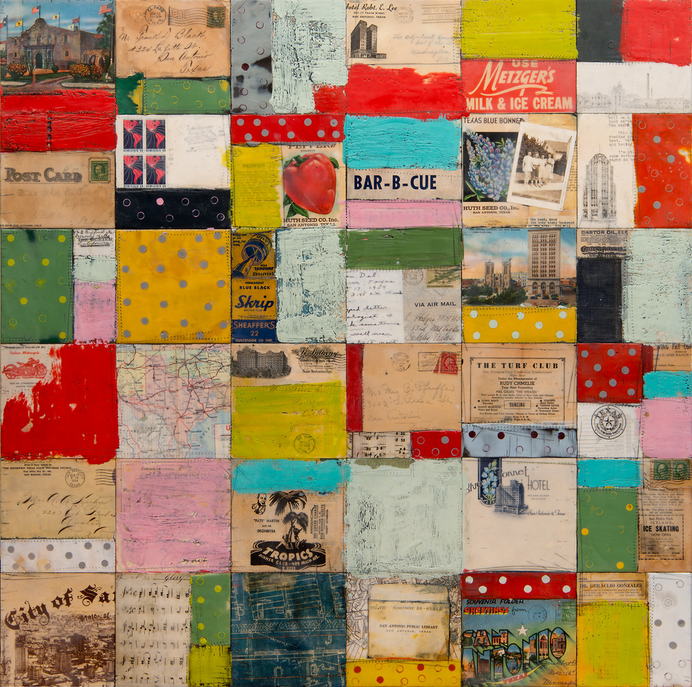 "Greetings from San Antonio, 30"" x 30"", encaustic, oil, collage on cradled wood panel"