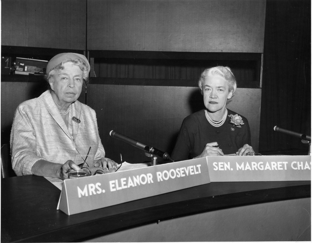 "1956: Debates Eleanor Roosevelt during presidential campaign on ""Face the Nation."""