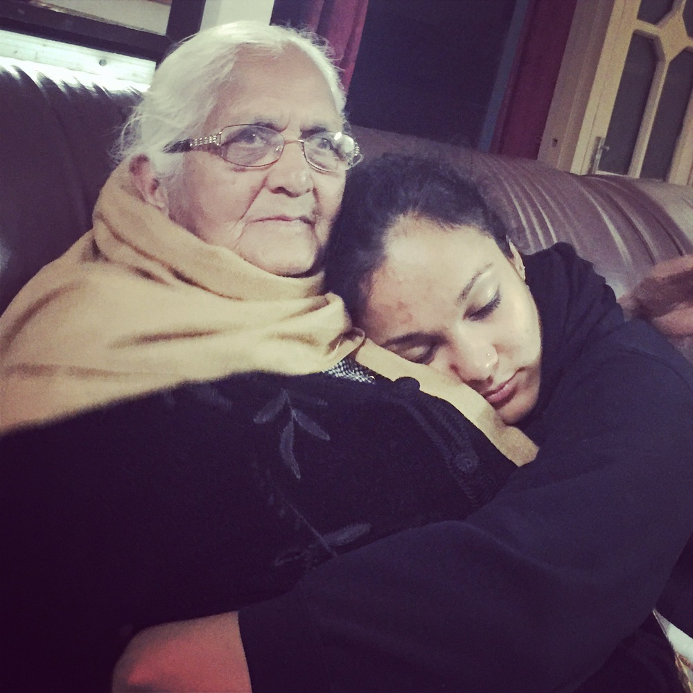 Cuddling my grandma in India.