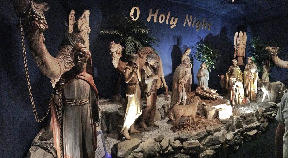 The stunning carved wood nativity from Marshall Fields at The National Christmas Center