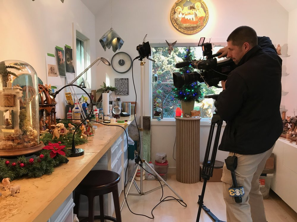 Production crew filming in Navidad Sanctuary for December feature.